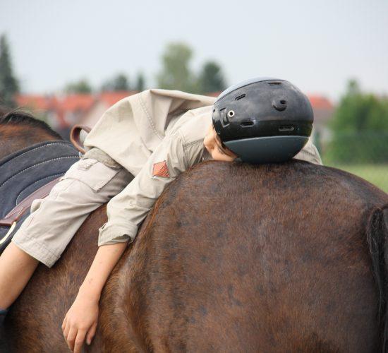 Kind, das rücklings auf einem einem Pferderücken liegt
