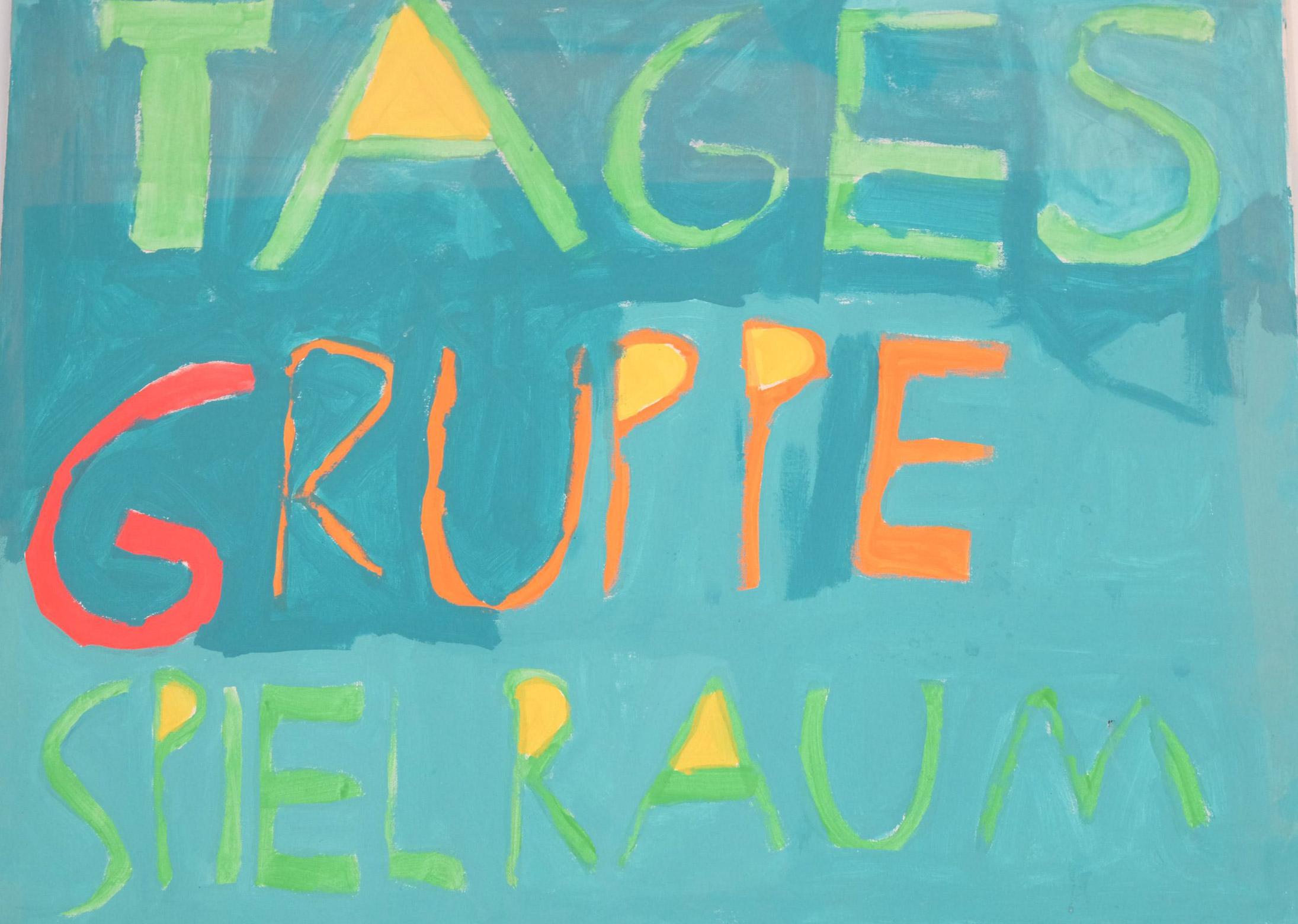 Von Kindern gemaltes Schild der Tagesgruppe SpielRaum