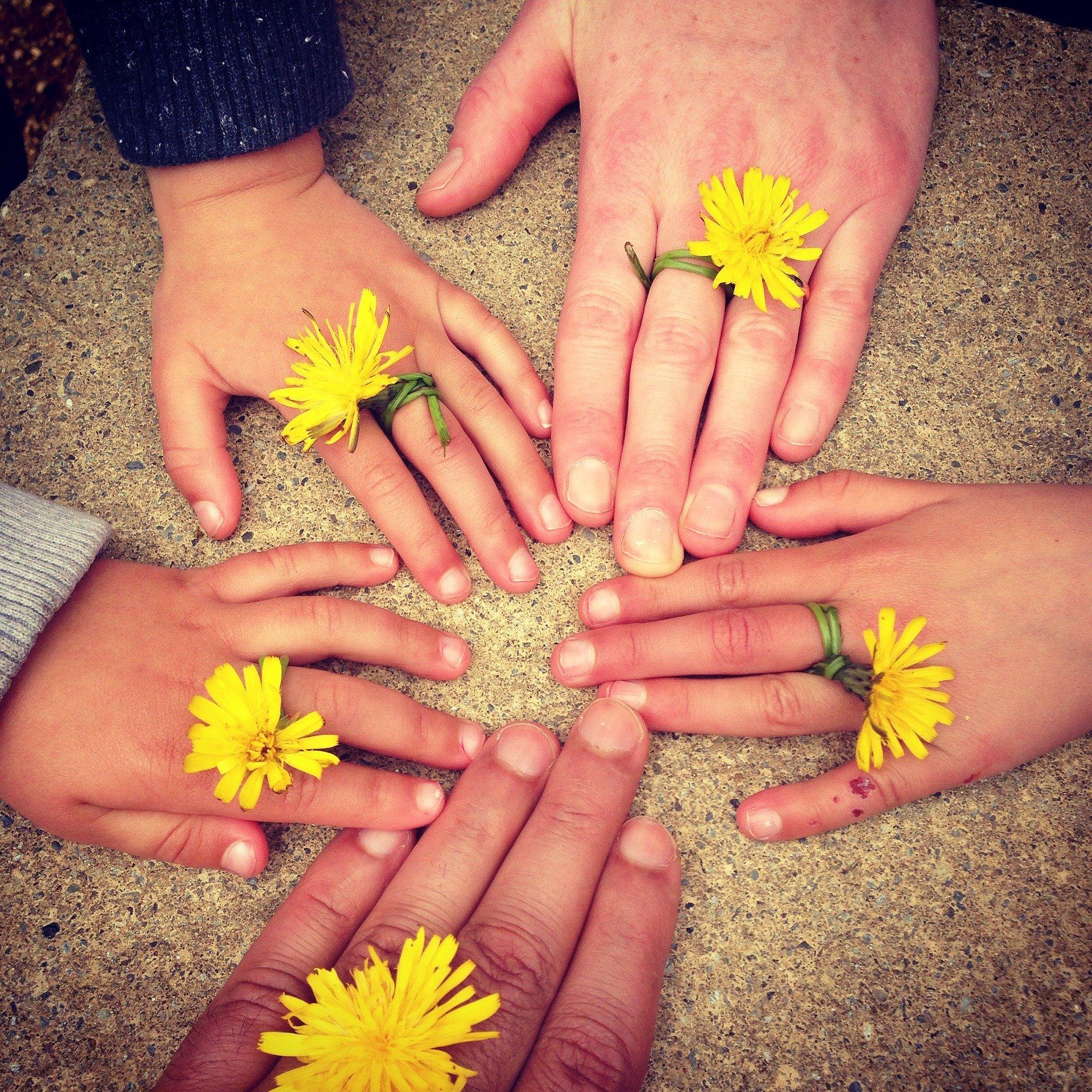 Fünf Kinderhände liegen auf Sandboden mit gelben Löwenzahlblumen als Ringe