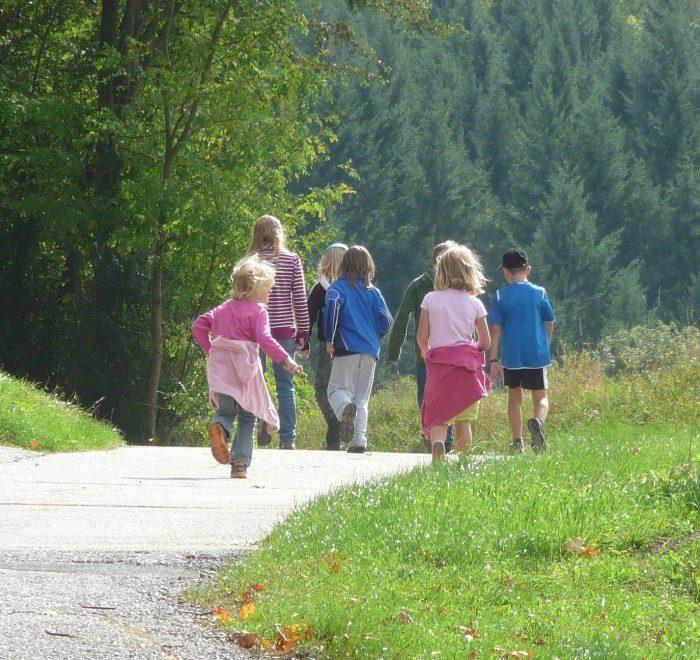 Eine Gruppe Kinder läuft einen Weg zwischen Wiesen entlang